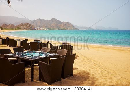 Dinner table by the beach