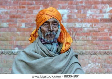 KATHMANDU, NEPAL - FEBRUARY 16, 2015: A sadhu in Pashupatinath for Maha Shivaratri which will be celebrated on February 17. Shivaratri is celebrated each year to honor Lord Shiva.