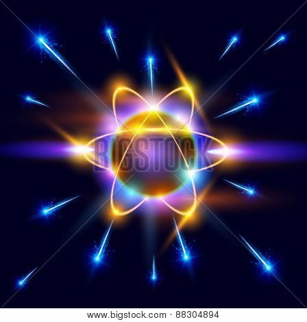 model of the atom and blue sparks around. Vector illustration / eps10