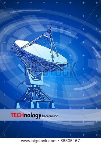 satellite dishes antenna - doppler radar & blue radial technology background. Vector illustration / eps10