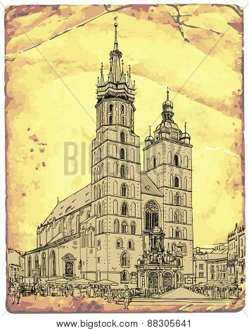 The town square in Krakow & Church of St. Mary. Poland. Vector illustration / Eps10