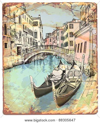 2 gondolas. Ponte del Mondo Novo, Campo S.Maria Formosa. Venice, Italy. Vector illustration / Eps10
