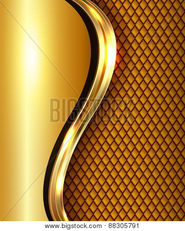 Abstract business background gold with golden metallic wave, elegant vector illustration.