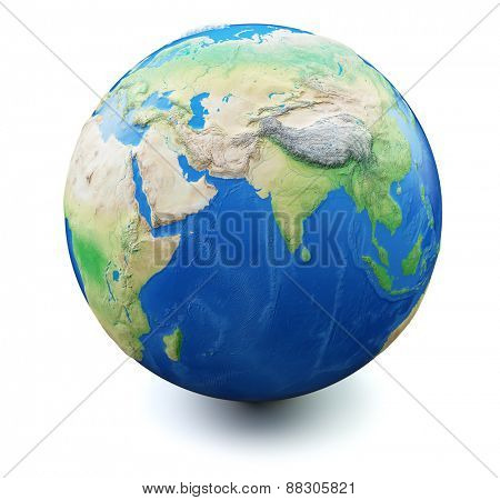 Earth isolated on white background with soft shadow. Focus on India and Middle East, Map and earth data used is computer generated in public domain from www.naturalearthdata.com