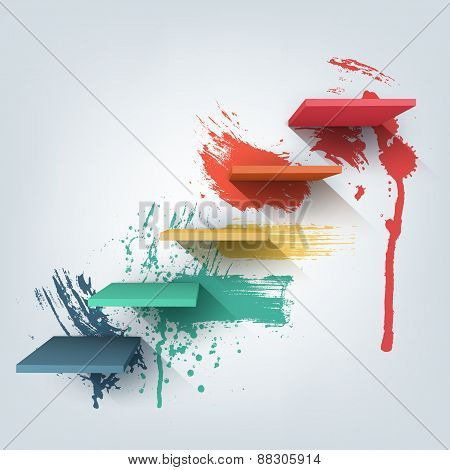 Abstract vector Illustration. Composition of 3d stairs with paint splash texture.