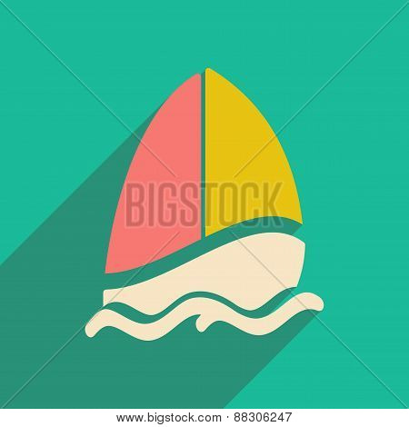 Flat with shadow icon and mobile applacation sailing boat