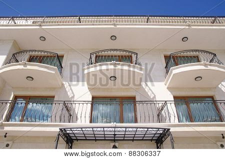 Facade Of A Hotel Building With Wrought Iron Balconies, Bulgaria