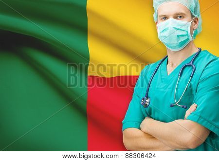 Surgeon With National Flag On Background Series - Benin