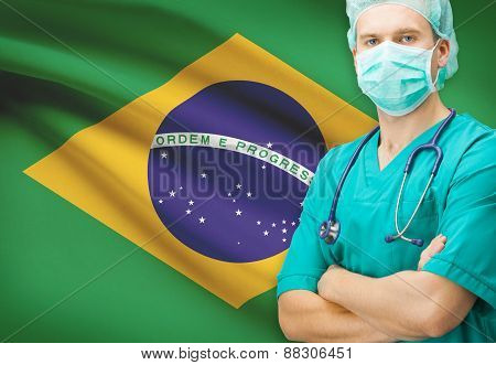 Surgeon With National Flag On Background Series - Brazil