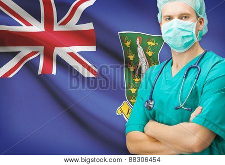 Surgeon With National Flag On Background Series - British Virgin Islands