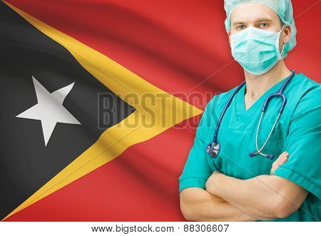 Surgeon With National Flag On Background Series - East Timor