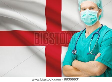 Surgeon With National Flag On Background Series - England