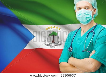 Surgeon With National Flag On Background Series - Equatorial Guinea