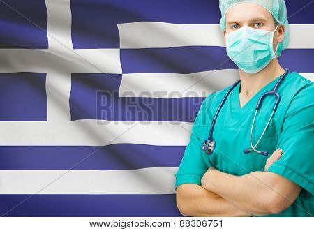 Surgeon With National Flag On Background Series - Greece