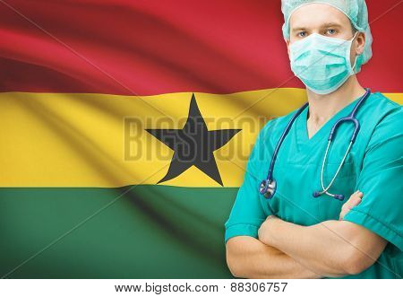 Surgeon With National Flag On Background Series - Ghana