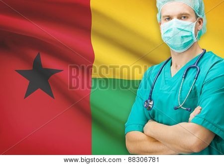 Surgeon With National Flag On Background Series - Guinea-bissau