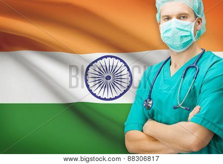 Surgeon With National Flag On Background Series - India