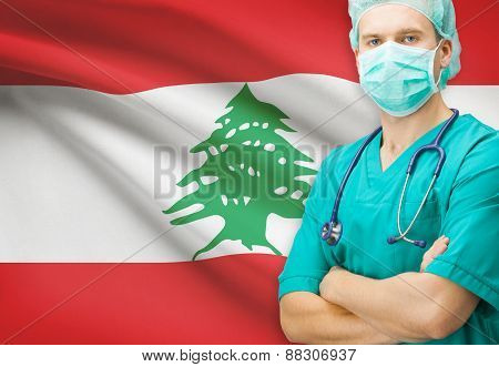 Surgeon With National Flag On Background Series - Lebanon