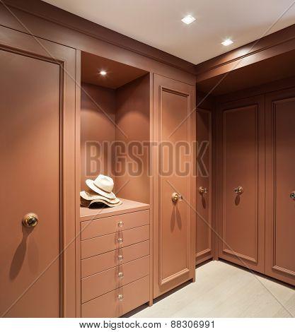 Interior beautiful apartment, elegant wardrobe