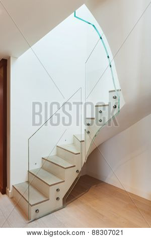 modern architecture, Interior, beautiful house, staircase view