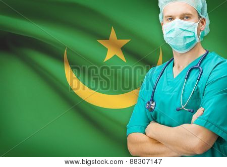 Surgeon With National Flag On Background Series - Mauritania