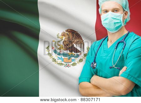 Surgeon With National Flag On Background Series - Mexico