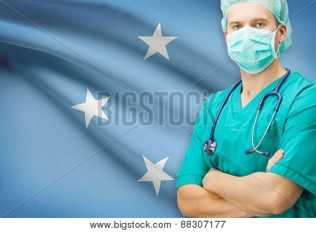 Surgeon With National Flag On Background Series - Federated States Of Micronesia