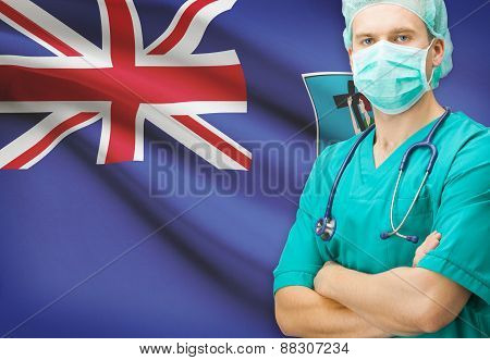 Surgeon With National Flag On Background Series - Montserrat