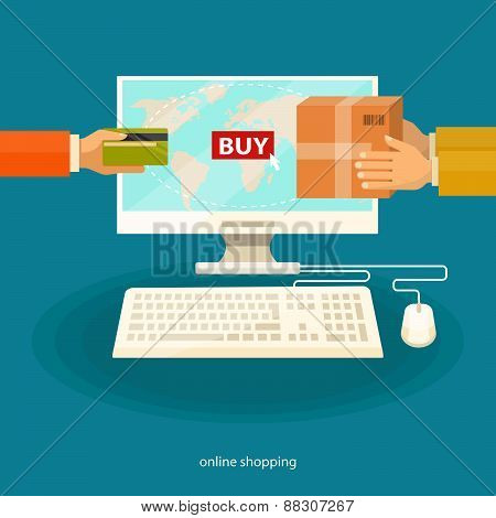 Online shopping , e-commerce concept. Vector flat illustration.