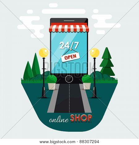 Online shopping , e-commerce concept. Supermarket smartphone. Vector flat illustration.