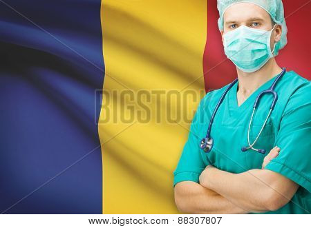 Surgeon With National Flag On Background Series - Romania