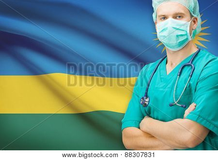 Surgeon With National Flag On Background Series - Rwanda