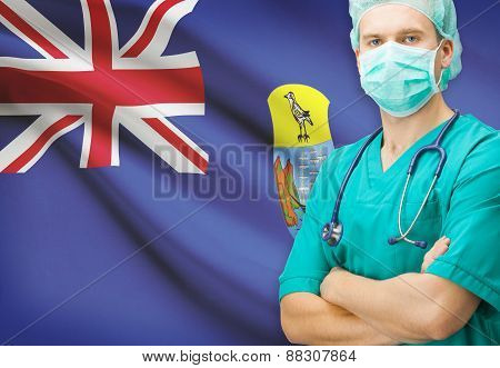 Surgeon With National Flag On Background Series - Saint Helena