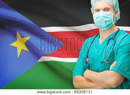 Surgeon With National Flag On Background Series - South Sudan