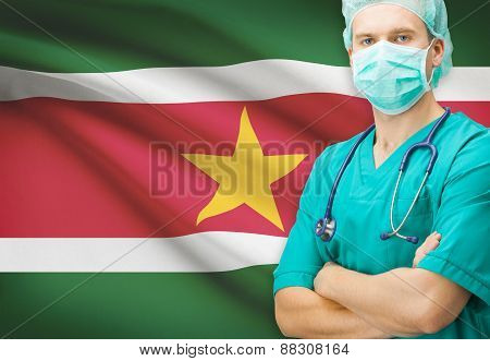 Surgeon With National Flag On Background Series - Suriname
