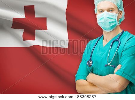 Surgeon With National Flag On Background Series - Tonga