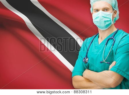 Surgeon With National Flag On Background Series - Trinidad And Tobago