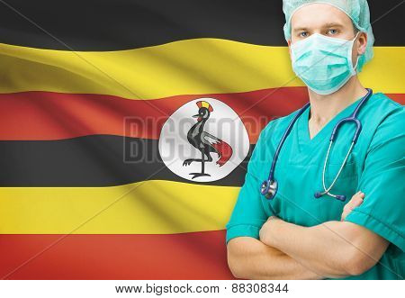 Surgeon With National Flag On Background Series - Uganda