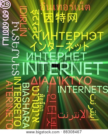 Background concept wordcloud multilanguage international many language illustration of internet glowing light