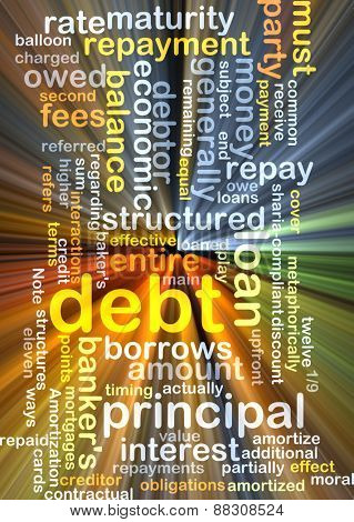 Background text pattern concept wordcloud illustration of financial debt glowing light