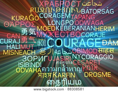 Background concept wordcloud multilanguage international many language illustration of courage glowing light