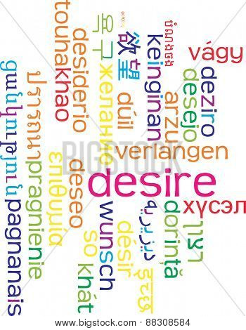 Background concept wordcloud multilanguage international many language illustration of desire
