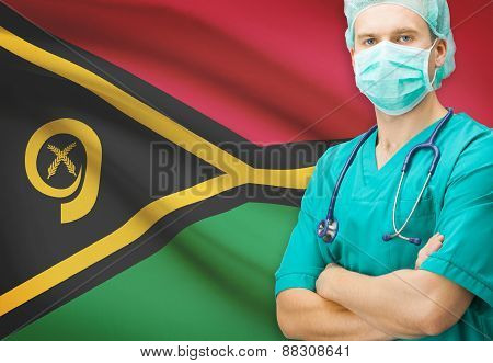 Surgeon With National Flag On Background Series - Vanuatu
