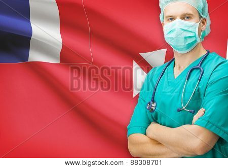 Surgeon With National Flag On Background Series - Wallis And Futuna