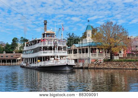 ORLANDO, FL - FEB 13: Ship in Magic Kingdom on February 13, 2012 in Orlando, Florida. Magic Kingdom is the most visited theme park in the world attracting 17 million visitors in 2010.