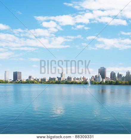 New York City Manhattan water reflection panorama