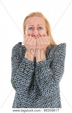 middle aged woman having fear isolated over white background