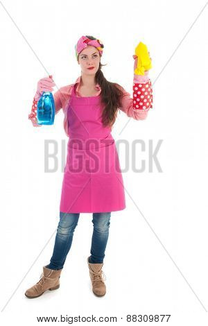 Portrait young female cleaner cleaning the glass isolated over white background