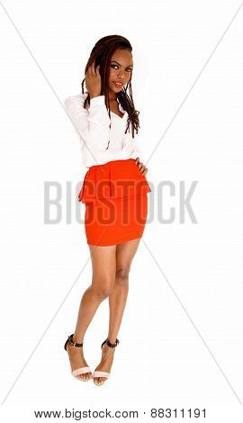 African Woman In Red Skirt.