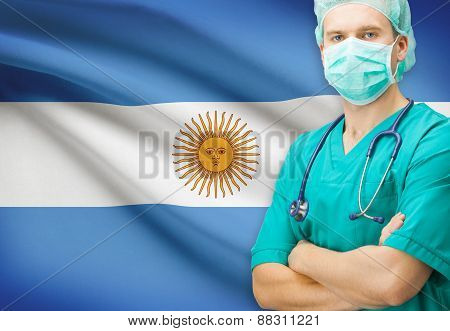 Surgeon With National Flag On Background Series - Argentina